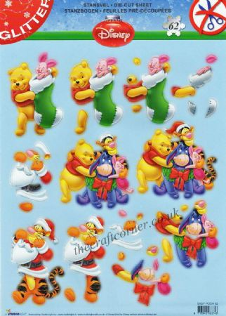 Winnie The Pooh & Friends At Christmas 62 Die Cut 3d Decoupage Sheet